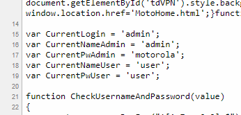 Snippet of the page source for the security tab, showing the current usernames and passwords for the modem's accounts